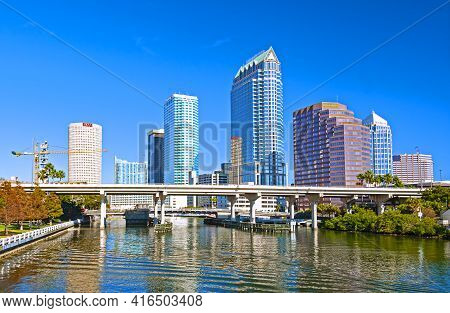 Tampa, Florida - December 30, 2017: View Of The City Waterfront And The Tampa Business District