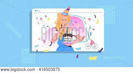 Woman In Festive Hat Celebrating Online Party Girl In Web Browser Window Blowing In Blower