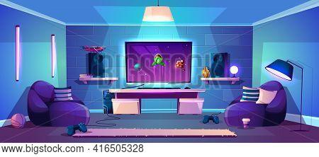 Vector Game Room Illustration, Modern Esports Concept. Night Stream, Digital Entertainment In Neon L