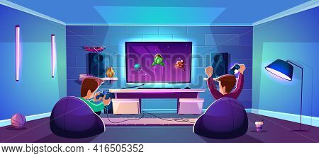 Vector Game Room With People Playing Digital Entertainment, Modern Esports Concept. Night Stream Wit