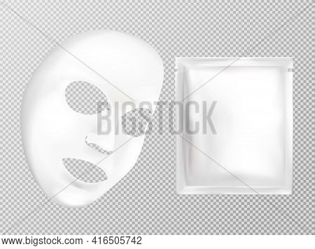 Vector 3d Realistic White Sheet Facial Cosmetic Mask And Sachet Isolated On Transparent Background.