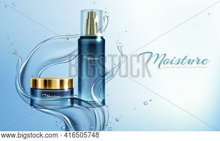 Vector 3d Realistic Illustration With Moisturizing Cream, Lotion In Water Splashes. Mock Up Cosmetic