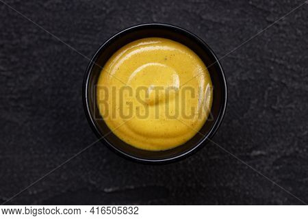 Mustard Sauce Dip In Bowl, Tasty Food Condiment