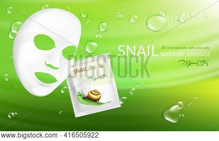 Vector 3d Realistic White Sheet Facial Cosmetic Mask With Snail Mucus. Skincare, Moisturizing Cream