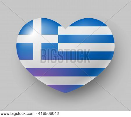 Heart Shaped Glossy National Flag Of Greece. European Country National Flag Button, Greek Symbol In
