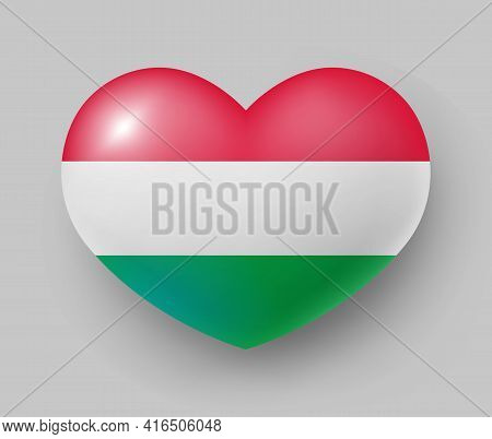 Heart Shaped Glossy National Flag Of Hungary. European Country National Flag Button, Hungarian Symbo
