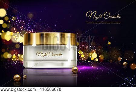 Vector 3d Realistic Advertising Mock Up - Night Cream In Jar, Luxury Cosmetics. Moisturizing Essence