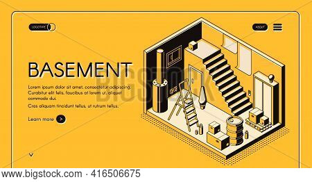 House Architect, Design Company Isometric Vector Web Banner, Landing Page Template. Basement Cross S