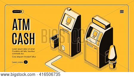 Currency Exchange Online Service, Bank Automated Teller Machine Network Locator Isometric Vector Web