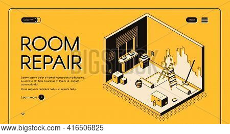 Apartment Room Repair And Decoration Service Isometric Vector Web Banner. Dwelling Walls Wallpaperin