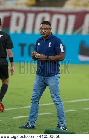 Rio, Brazil - April 11, 2021: Roger Machado Coach In Match Between Flamengo V Nova Iguacu By Carioca