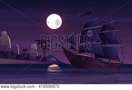 Pirate Ship Or Galleon With Human Skull And Crossed Bones On Black Sails, Sailing Near Tropical Seac