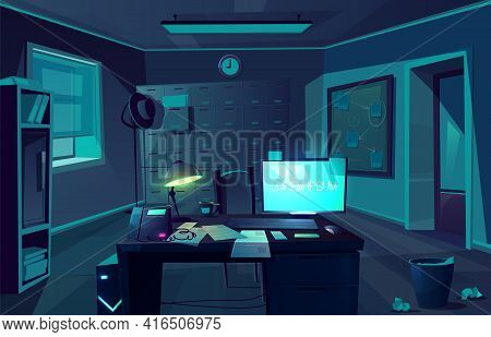 Vector Cartoon Background Of Overtime In Police Department Or Private Detective. Night, Dark Room Wi