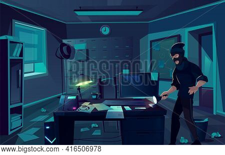 Vector Cartoon Background Of Robbery In Police Department Or Cabinet Of Private Detective. Criminal