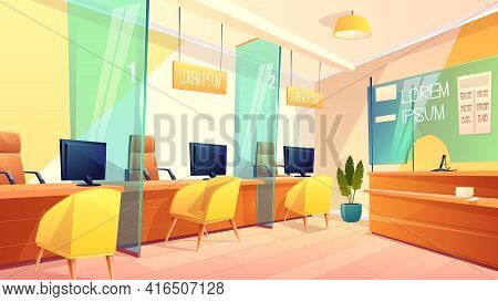 Vector Background Of Bank Office, Counters For Managers And Clients. Bright Interior Of Finance Plac