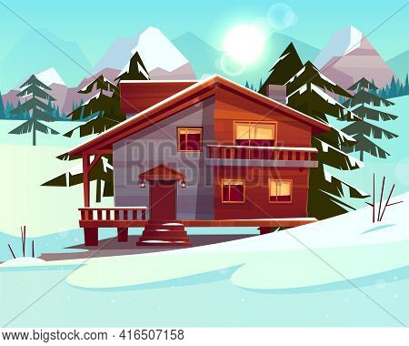 Vector Cartoon Background With A Luxury Hotel In Snowy Mountains, Green Forest. Wooden Living Apartm