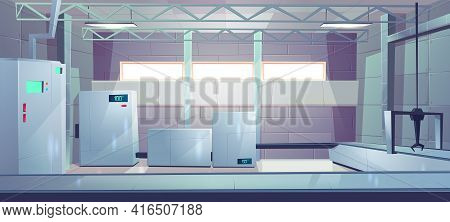 Industrial Factory Or Plant Production Hall Empty Interior Cartoon Vector. Manufacturing Facility, H