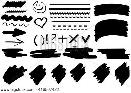 Doodle Pattern On Black Backdrop. Watercolor Brush Texture. Hand Drawn Texture. Stock Image. Vector