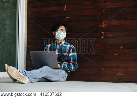 Freelance Man Working Jobs Wear Protective Masks Sitting Stressed From Unemployment At Home Concept