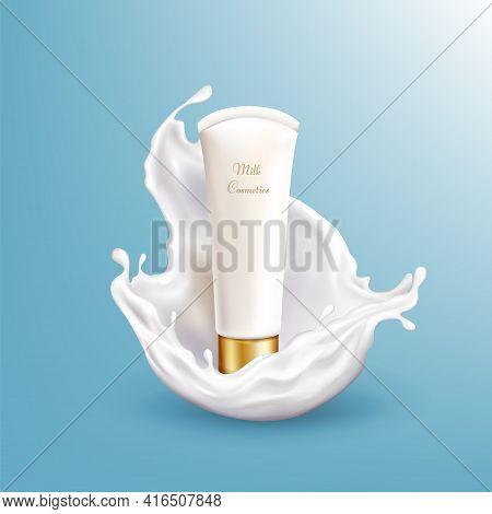 Vector 3d Realistic Milk Cosmetic In White Splashing Isolated On Blue Background. Moisturizing Liqui