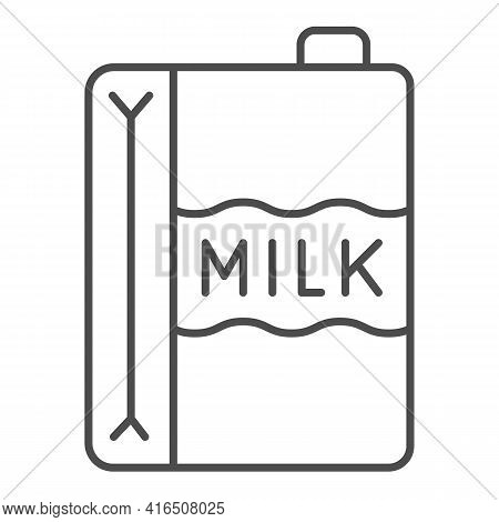 Paper Carton Of Milk Thin Line Icon, Dairy Products Concept, Dairy Product Box Sign On White Backgro
