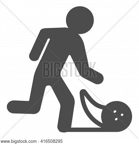 Man Throwing Bowling Ball Solid Icon, Bowling Concept, Bowling Player Sign On White Background, Man