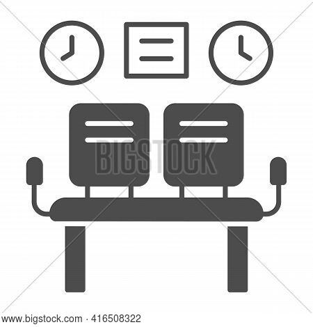 Waiting Room Seats Solid Icon, Airlines Concept, Waiting Room Vector Sign On White Background, Seats