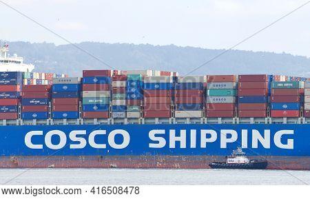 Oakland, Ca - Apr 3, 2021: Cargo Ship Cosco Europe Entering The Port Of Oakland. China Ocean Shippin