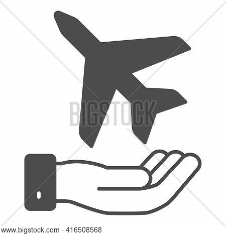 Plane In The Palm Solid Icon, Airlines Concept, Plane Takes Off From Palm Vector Sign On White Backg