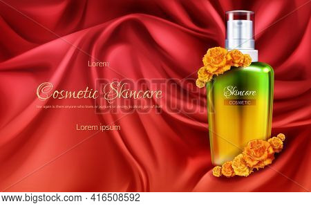 Womens Cosmetics 3d Realistic Vector Advertising Banner Or Cosmetic Promo Poster. Elegant Golden Bot