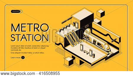 City Transport System Infrastructure Isometric Vector Web Banner, Landing Page Template. Modern Subw