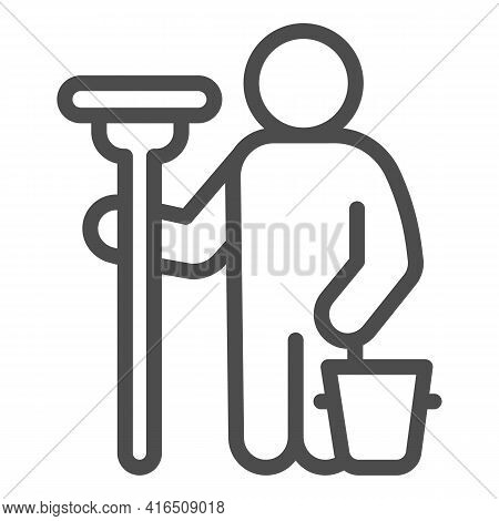 Man With Mop And Bucket Line Icon, Car Washing Concept, Wash Specialist Sign On White Background, Ca
