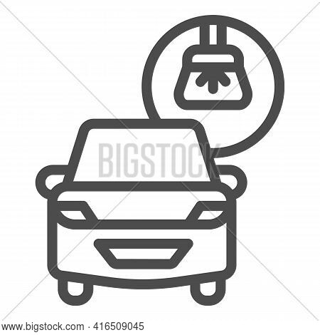 Car And Brush Line Icon, Car Washing Concept, Car Wash Sign On White Background, Carwash Icon In Out