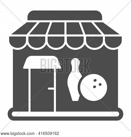 Bowling Club Solid Icon, Bowling Concept, Building Facade Sign On White Background, Bowling Club Out