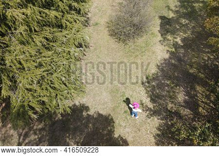 A Woman In A Pink Hat In The Forest, Shooting From A Drone. Vacation, Summer