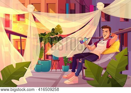 Relax And Chill Out In City Bustle Cartoon Vector Concept. Happy Young Man Sitting In Armchair, List