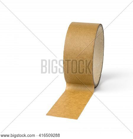 Unwinding Coil Of Yellow Tape Isolated On A White Background. Universal Packaging Tape.