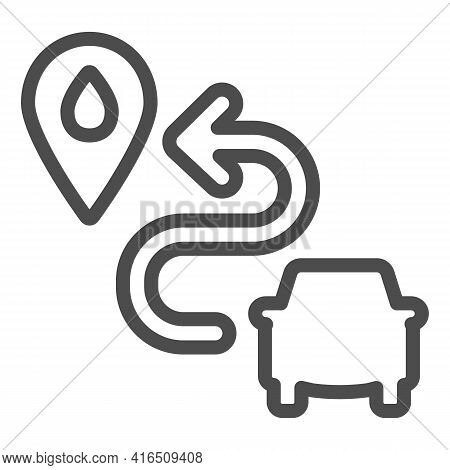 Carwash Location Pin Line Icon, Car Washing Concept, Map Pointer With Symbol Car Wash On White Backg