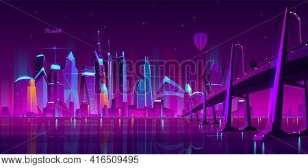 Modern City Cartoon Vector Night Landscape. Urban Cityscape Background With Skyscraper Buildings On