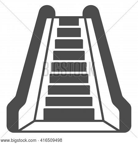 Escalator Solid Icon, Airlines Concept, Airport Escalator Vector Sign On White Background, Escalator