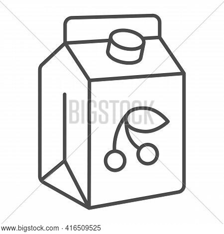 Cherry Yogurt Thin Line Icon, Dairy Products Concept, Sour Milk Packaging Sign On White Background,
