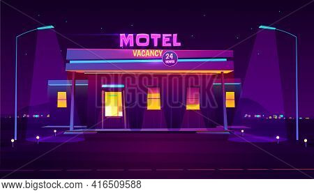 Round The Clock, Roadside Motel With Car Parking, Glowing At Night With Bright Neon Illumination Car