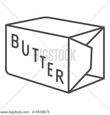 Packing Of Butter Thin Line Icon, Dairy Products Concept, Margarine Pack Bar Sign On White Backgroun