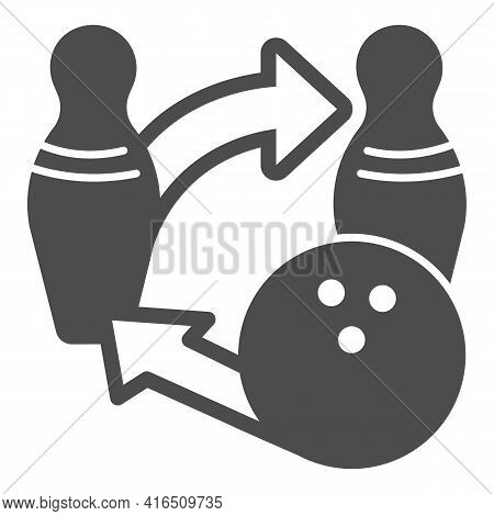 Bowling Ball And Pins Tactics Solid Icon, Bowling Concept, Sport Game Strategy Sign On White Backgro