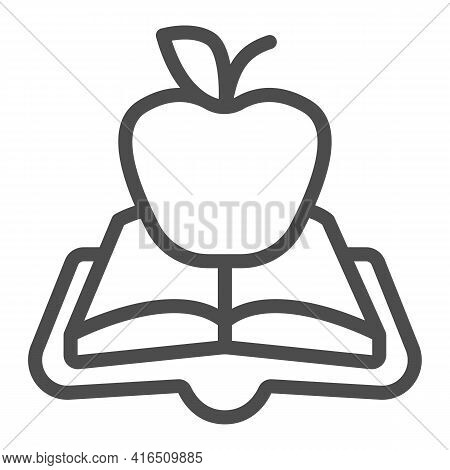 Open Book Green Apple Line Icon, Children Book Day Concept, Green Apple Vector Sign On White Backgro