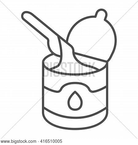 Tin Can Of Condensed Milk With Spoon Thin Line Icon, Dairy Products Concept, Condensed Milk Can And