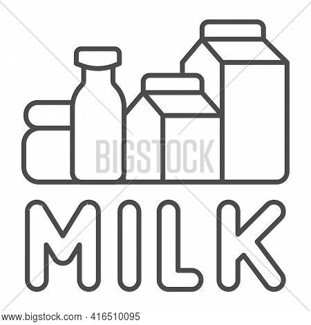 Dairy Products And Inscription Milk Thin Line Icon, Dairy Products Concept, Paper Bags And Bottles W