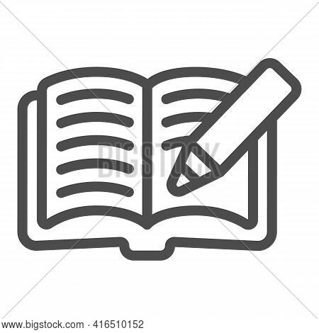 Open Book With Pencil Line Icon, Children Book Day Concept, Book With Pencil Vector Sign On White Ba