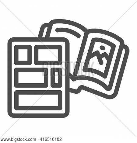 Book With Pictures Line Icon, Children Book Day Concept, Comic Strip Book With Vector Sign On White