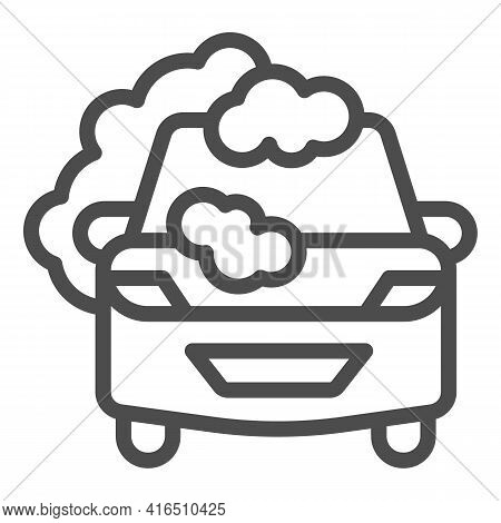 Car With Soap Foam Line Icon, Car Washing Concept, Cleaning Station Sign On White Background, Automo